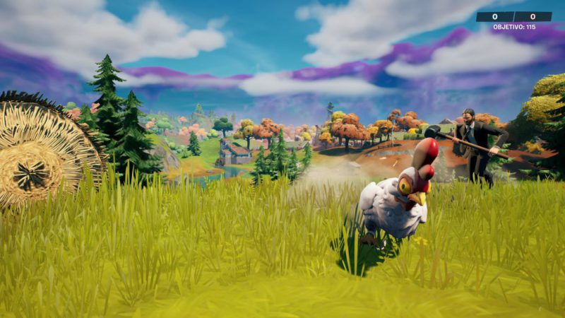 Fortnite: spend 7 seconds within 7 meters of a fleeing chicken