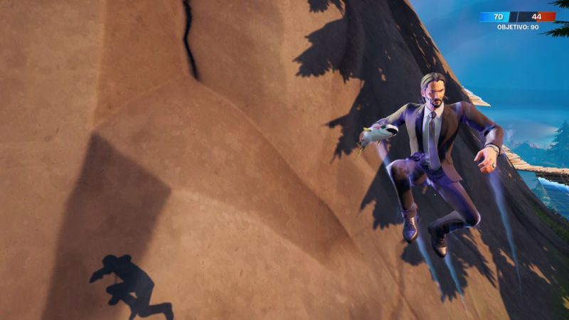 Fortnite: airtime using jumping fish and shock grenades