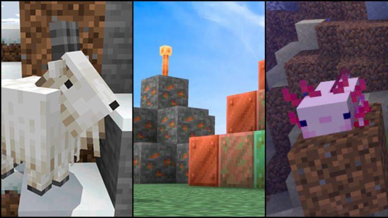 Minecraft 1.17 actualización parche novedades contenido cobre cabras ajolotes amatistas