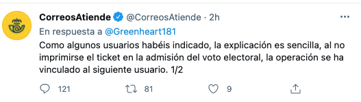 """Suspicions in Correos: assign """"votes cast"""" for the 4M to tickets of users who have not voted"""