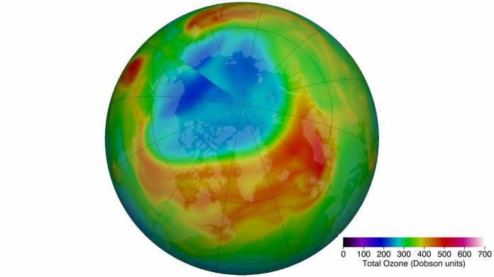 The ozone layer over the Arctic is thinner than ever in March