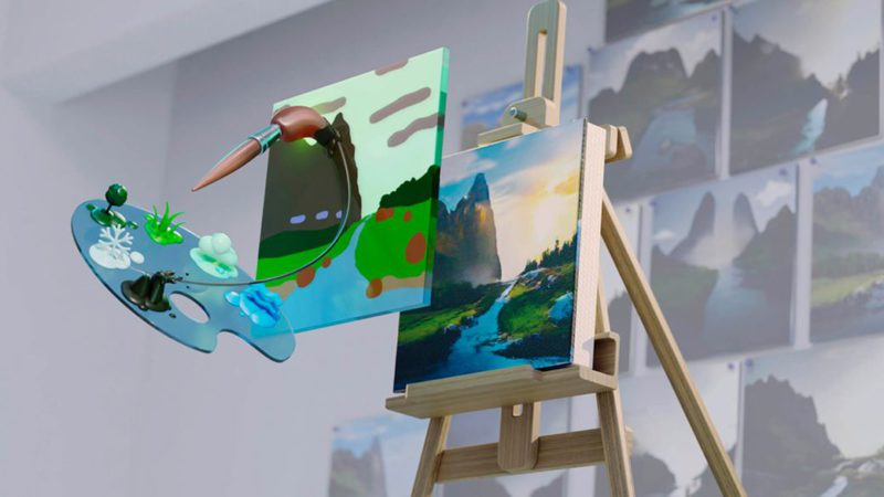 This is Nvidia Canvas, the application that converts brush strokes into realistic images