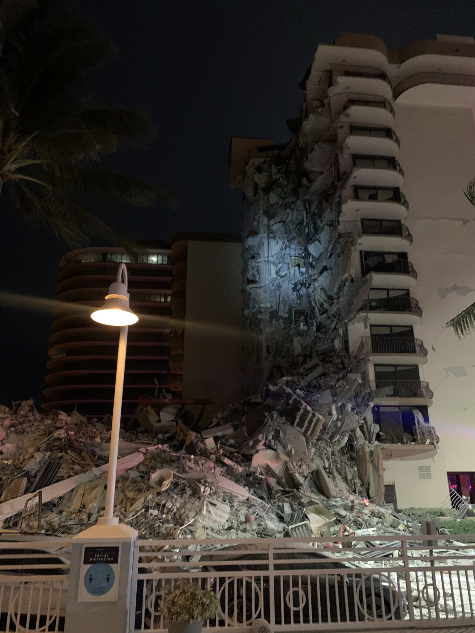 A large apartment building collapses in Miami