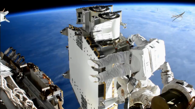 Astronauts deploy the first new solar sail on the ISS