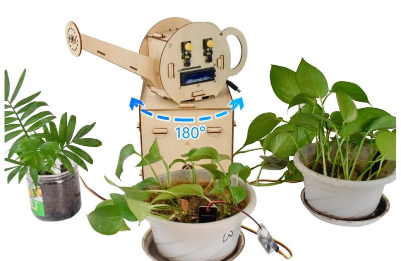 Automatic irrigation with rotating watering can