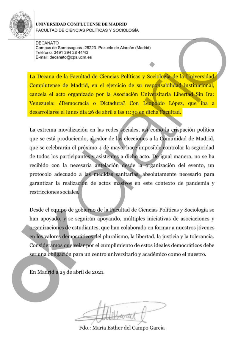 Complutense policies censor the act of Leopoldo López against Maduro so as not to harm Iglesias