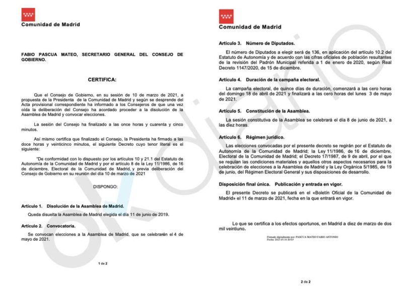 This is the certificate that proves that Ayuso called elections before the censure motions