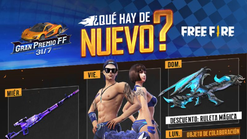 Free Fire: weekly agenda from July 21 to 27 with Magic Roulette and flip flops recharge