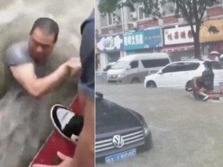 Las lluvias más intensas en 1.000 años: fuertes inundaciones arrastran a personas y 'se tragan' coches en China (VIDEOS)