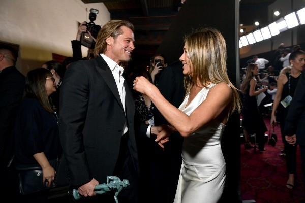 Brad Pitt and Jennifer Aniston in their last meeting in February 2020. Photo: (Getty)