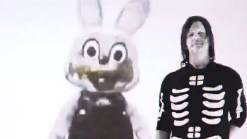 Norman Reedus (Death Stranding) poses on video with the rabbit from Silent Hill 3