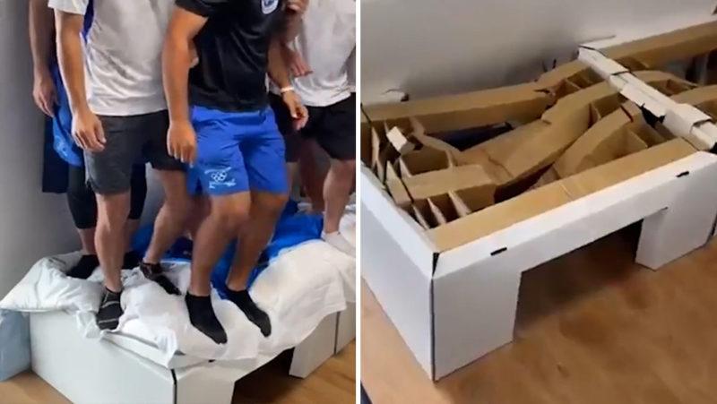VIDEO: Atletas israelíes rompen una cama 'antisexo' de la Villa Olímpica saltando en grupo sobre ella