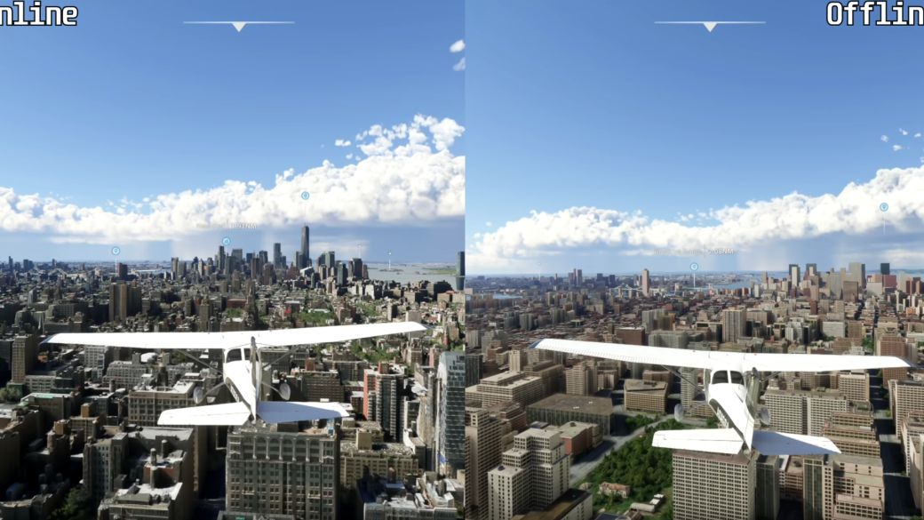 Microsoft Flight Simulator: they compare the map without internet versus online