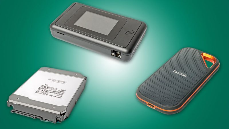 Brief tests: 18 TB hard drive, 5G cellular router, fast external SSD