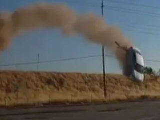 A couple recorded the moment a car flew through the air on the highway
