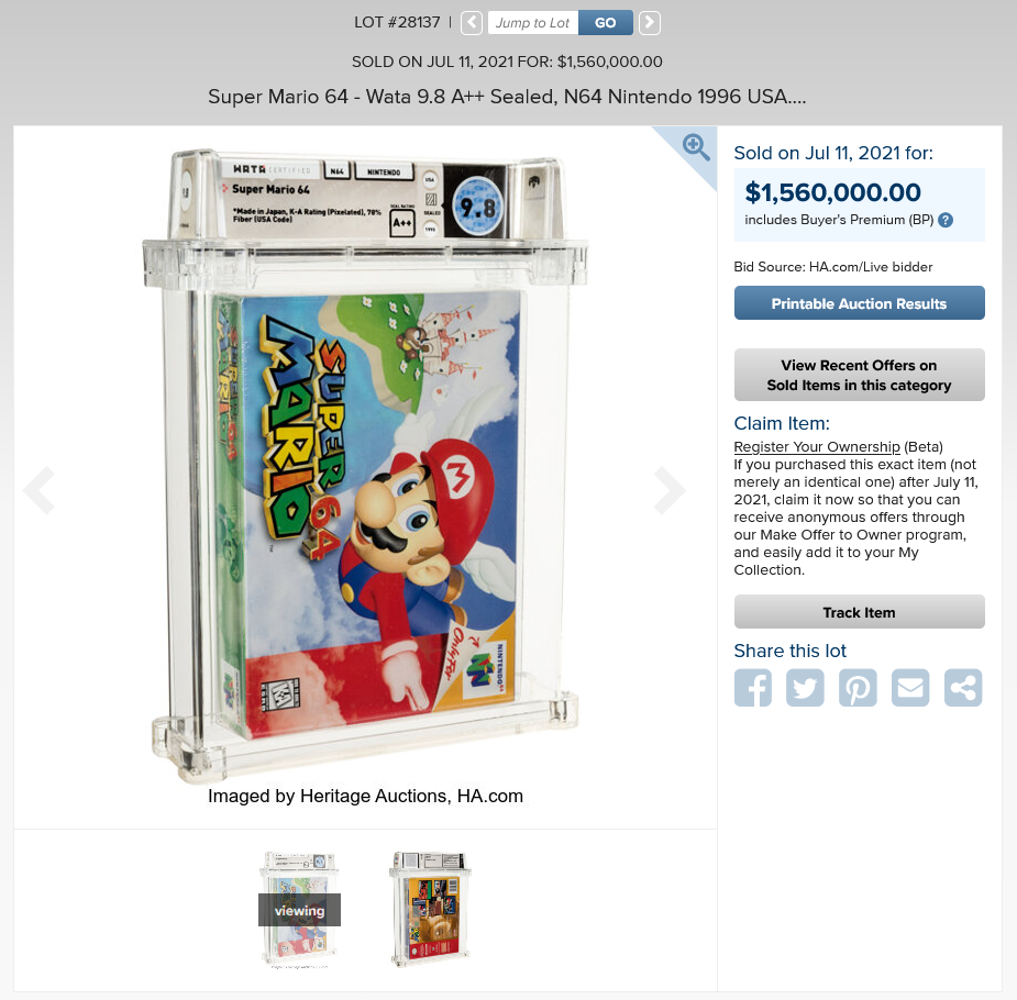 A sealed copy of Super Mario 64 sells for more than $ 1.5 ...