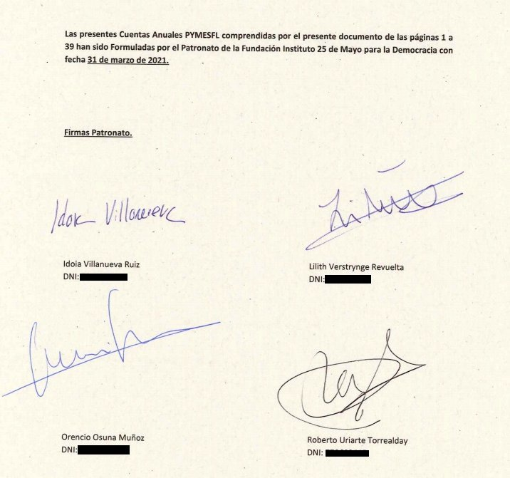 Signatures of the new board of trustees.  (Click to enlarge)