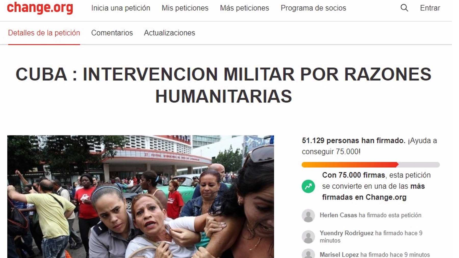 More than 50,000 people call for a US military intervention in Cuba