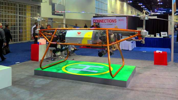 Large flying drone with two rotors and the inscription & quot; Eastwings & quot;