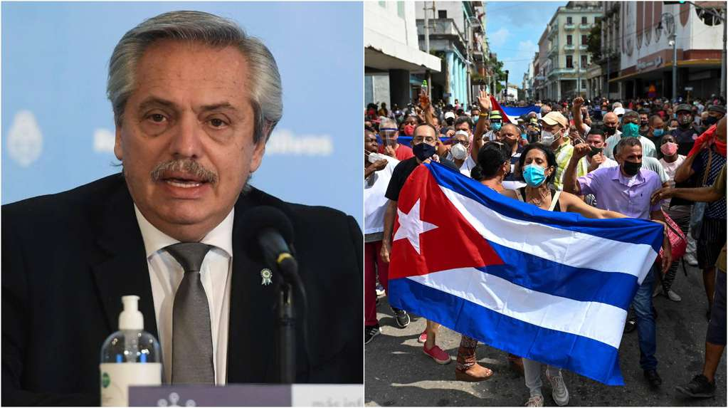 """The official Cuban television affirmed that Alberto Fernández supported the Díaz-Canel government: """"International voices are added in support of the revolution"""""""