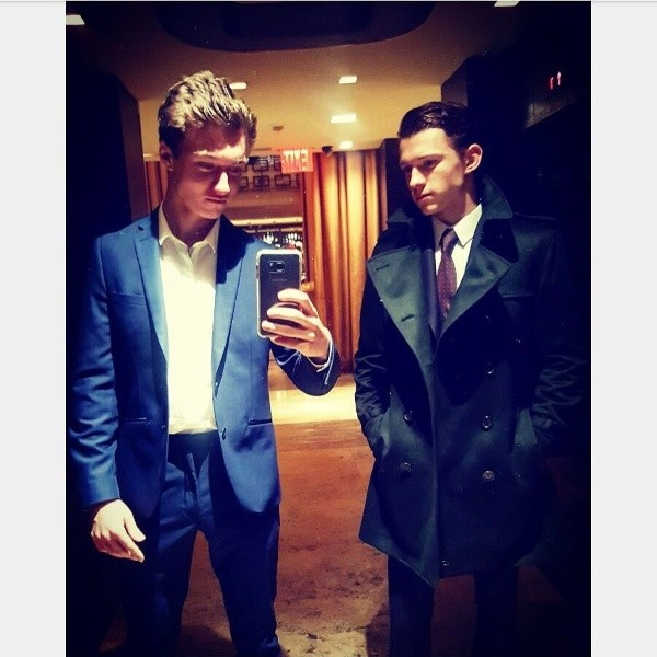 Tom Holland and Harrison Osterfield.  Photo: (@ tomholland2013)