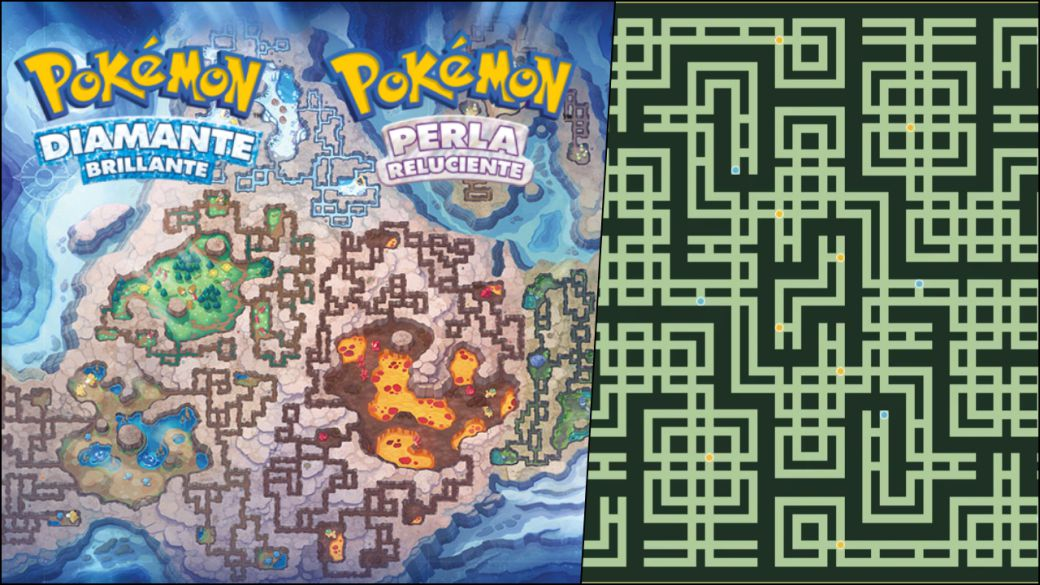 Remakes of Pokémon Diamond and Pearl: comparison of the huge Underground map with the original