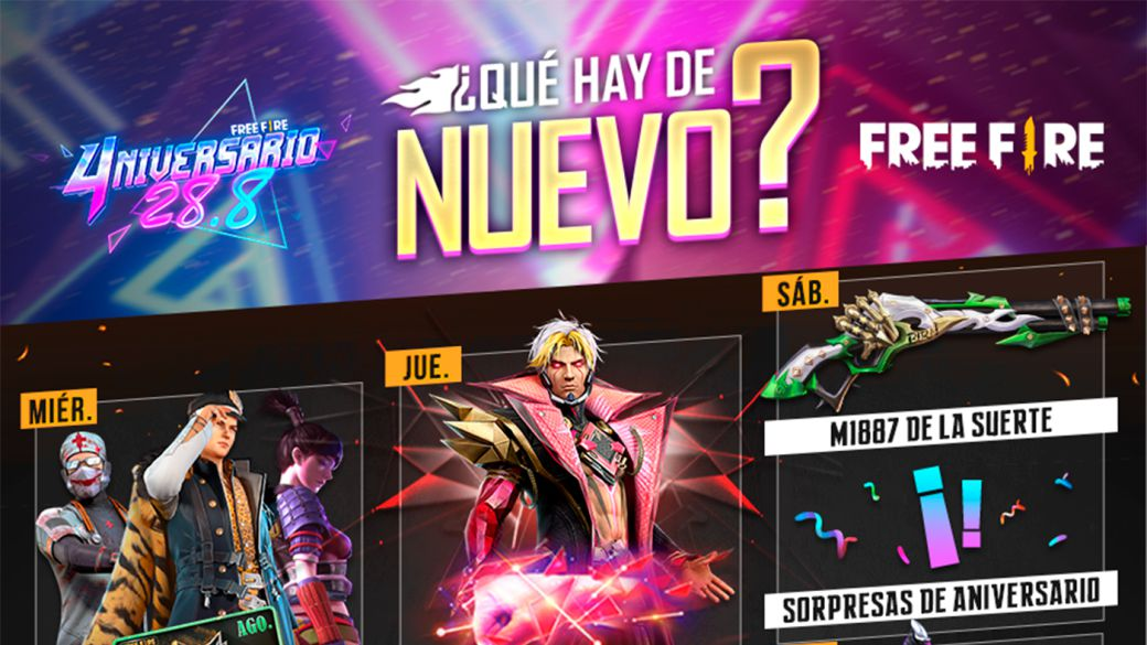 Free Fire: weekly agenda from August 24 to 31 with musical tower and roulette of luck