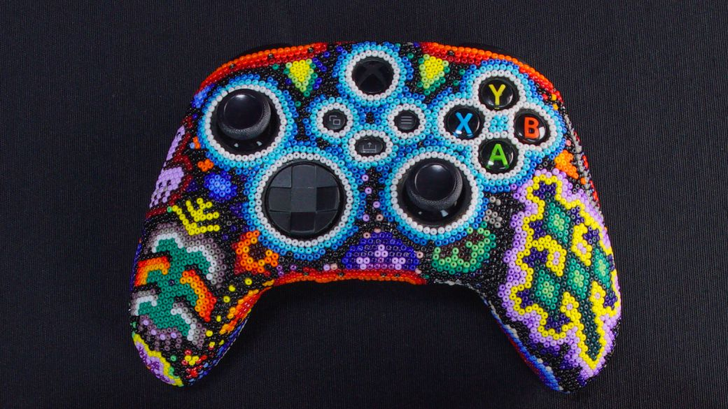 This is what the 3 Xbox controllers look like with indigenous art from Mexico
