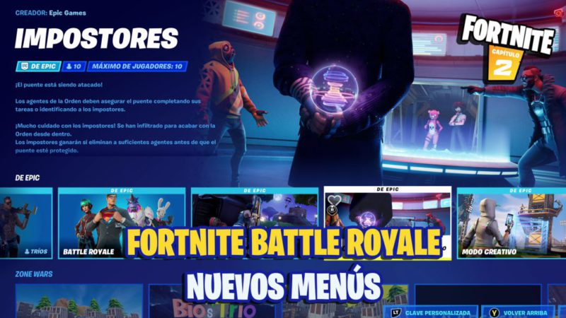 Fortnite renews its interface;  so are their new menus
