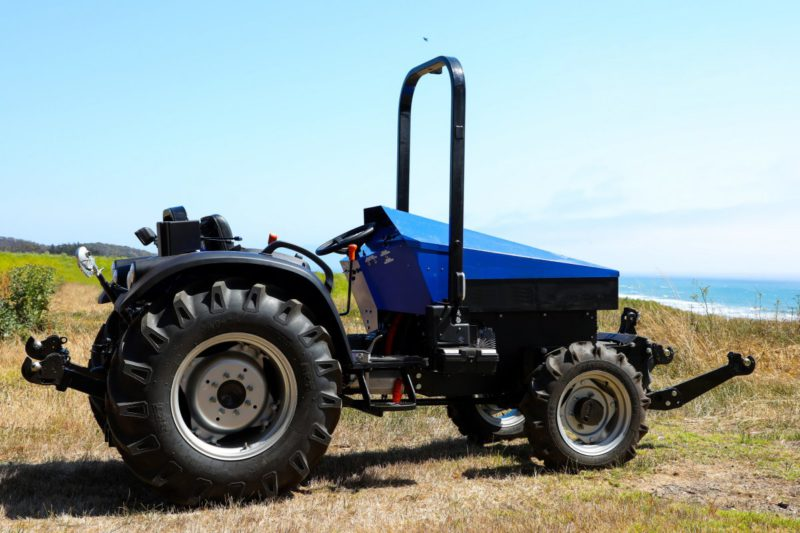 Introduced tractor with electric motor and replaceable battery