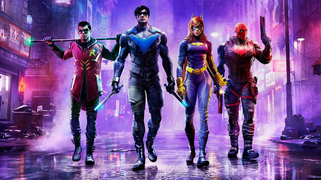 Gotham Knights presents its definitive promo art featuring Robin, Nightwing, Batgirl and Red Hood