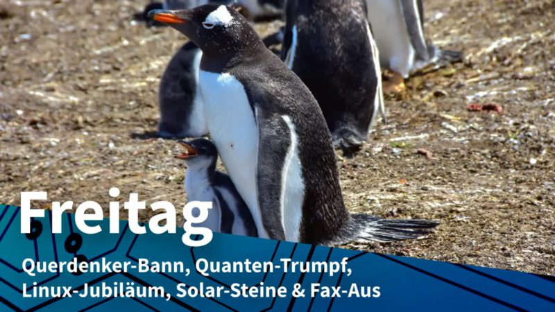 Friday: Ban on lateral thinkers, quantum trump, Linux anniversary, solar stones & fax-off