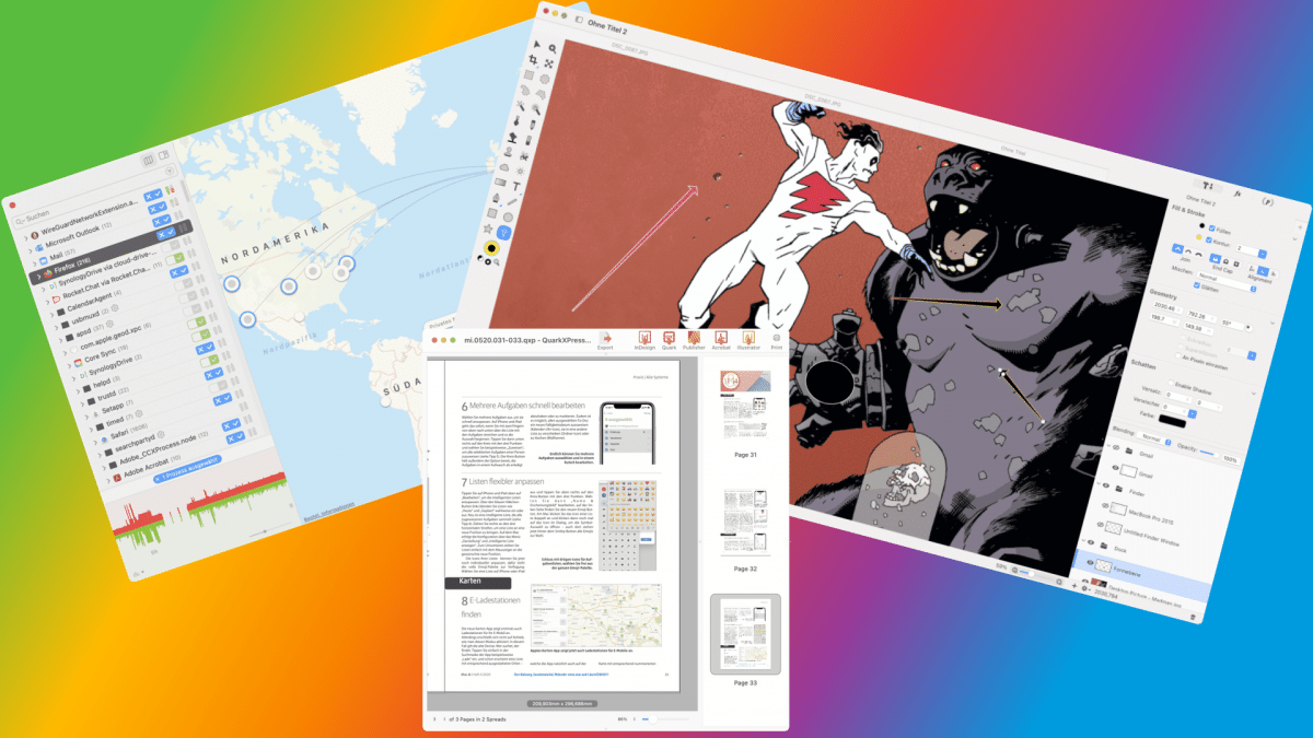 Brief reviews of Mac software: network watchdogs, layout converters and robust retouching