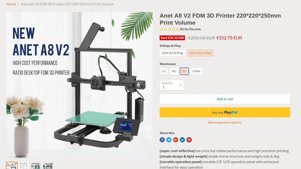 Cheap 3D printer: Anet A8 V2 now available