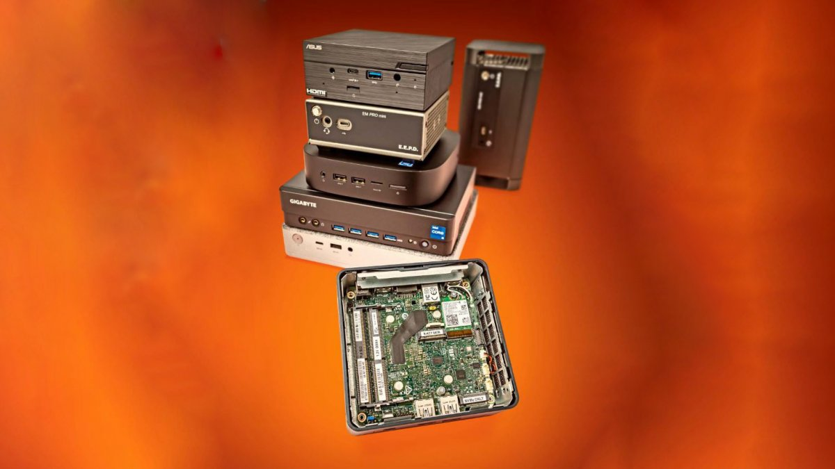 Five mini PC barebones and complete systems in the test