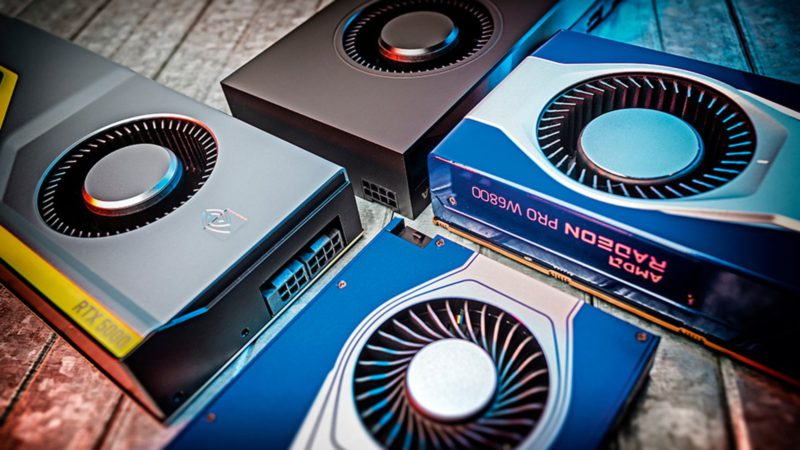 Four workstation graphics cards from AMD and Nvidia with the latest technology in the test