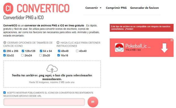 Convertico page to convert your images into ico format.  (Photo: Mag)