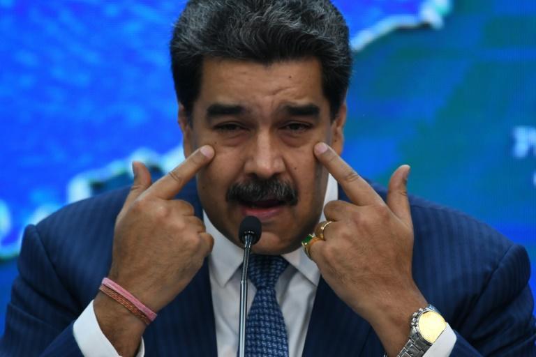 El presidente de Venezuela, Nicolás Maduro, habla durante una rueda de prensa con corresponsales de medios internacionales en el Palacio Presidencial de Miraflores, en Caracas, el 16 de agosto de 2021 (AFP/Federico PARRA)