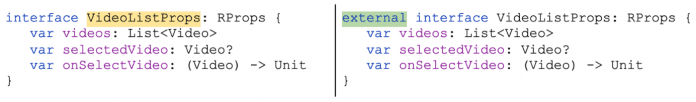 The Kotlin / JS Inspection Pack suggests converting JavaScript classes to external interfaces.