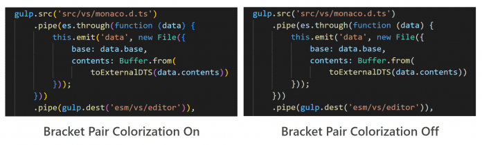Visual Studio Code 1.60 introduces syntax highlighting for brackets.