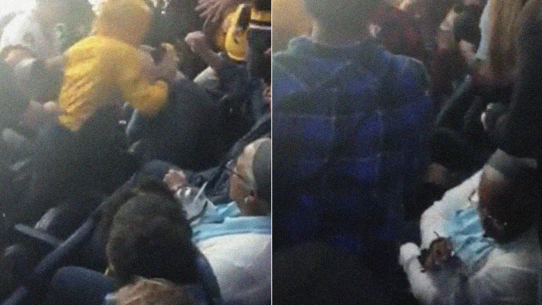 VIDEO: Disfruta tranquila de su bebida en medio de una salvaje pelea de hinchas en la grada durante un partido de hockey