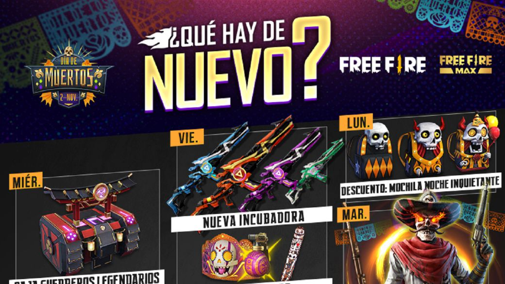 Free Fire: weekly agenda from October 20 to 26 with Don Muerte and a disturbing night backpack