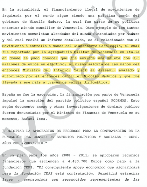 'Confidential Report' contributed by Hugo 'El Pollo' Carvajal to the judge.