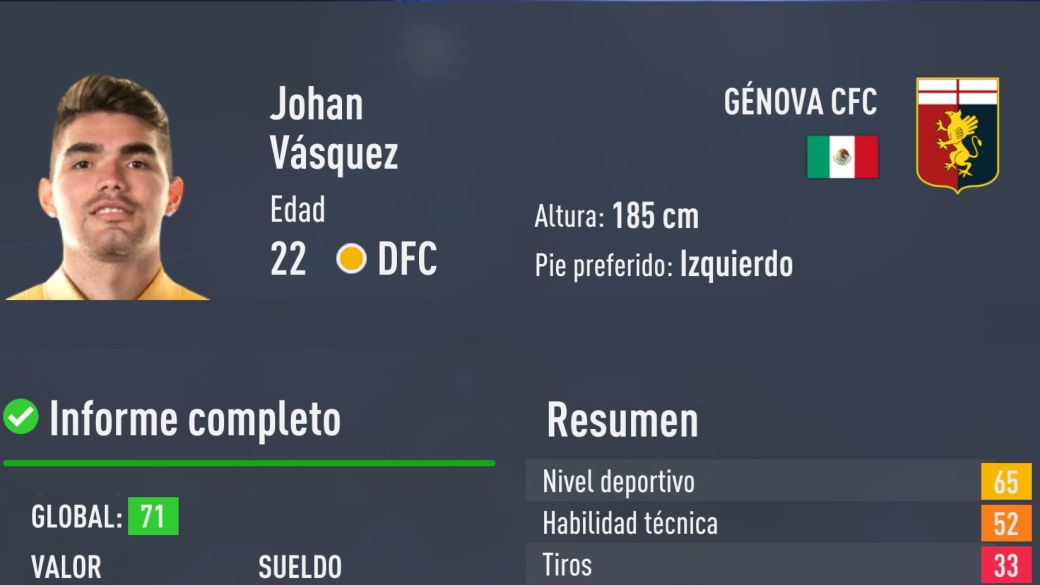 This is Johan Vásquez in FIFA 22, averages and official ratings of the Genoa player