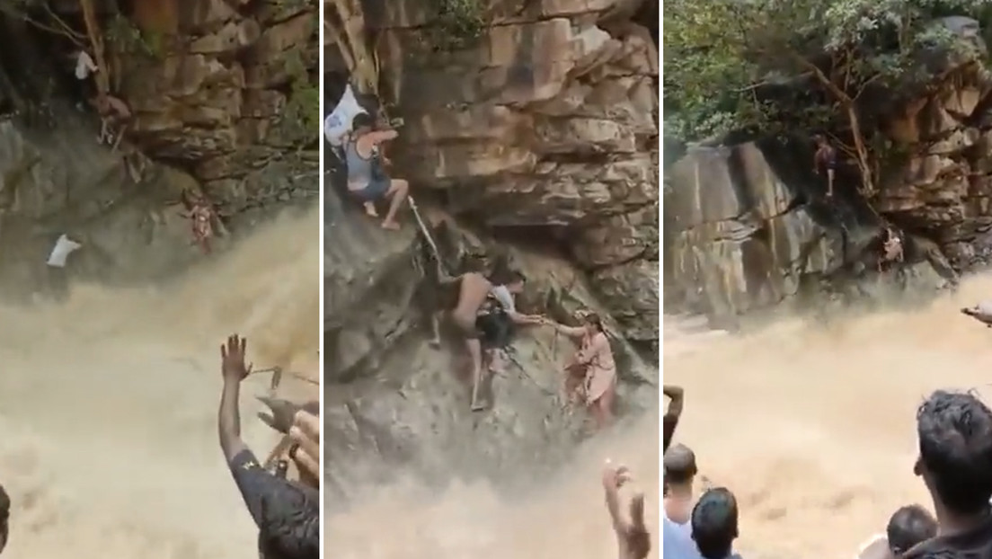 VIDEO: Rescatan a una mujer y a su hijo que quedaron atrapados junto a una cascada por las inundaciones en la India