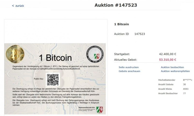 NRW Justice is auctioning Bitcoins well above market value