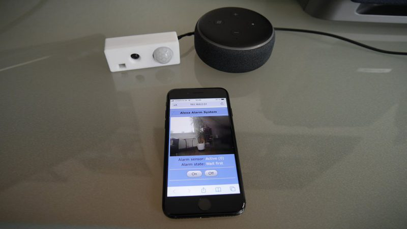 Smart alarm system: control ESP32-CAM with Alexa app or web interface