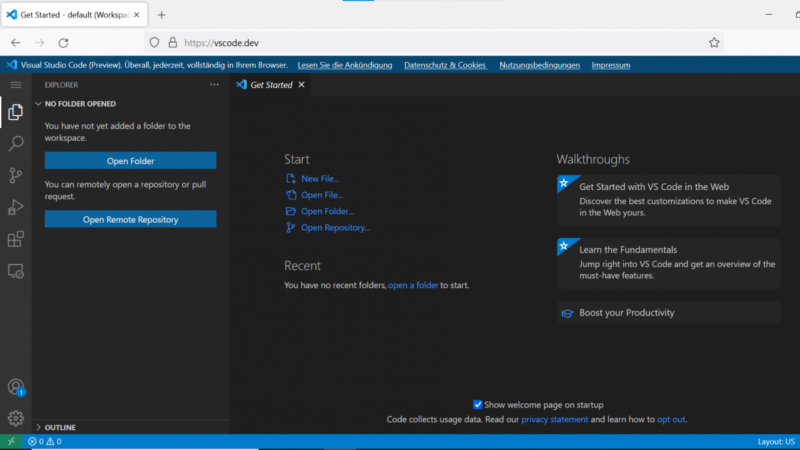Visual Studio Code now runs in the browser